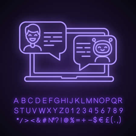 Support chatbot neon light icon. Messenger bot. Virtual assistant. Modern robot. Man chatting with bot on laptop. Glowing sign with alphabet, numbers and symbols. Vector isolated illustration Vector Illustration
