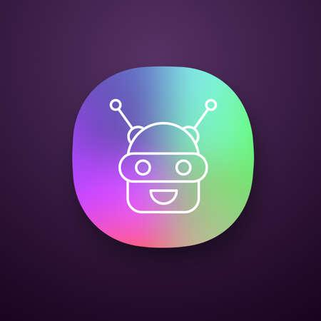 Icône de l'application Chatbot. Interface utilisateur UI / UX. Talkbot. Robot moderne. Robot de chat riant Android. Assistant virtuel. Agent conversationnel. Application Web ou mobile. Illustration vectorielle isolée