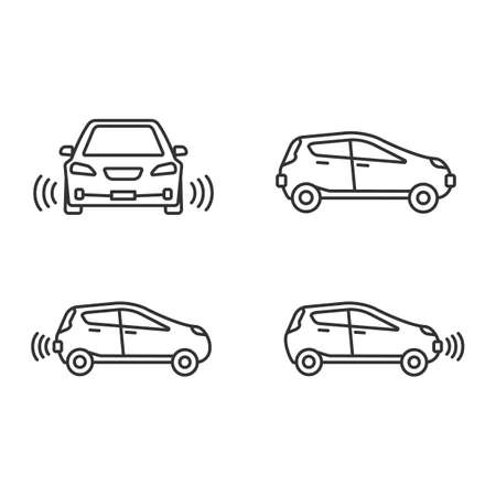 Smart cars linear icons set. NFC autos. Intelligent vehicles. Self driving automobiles. Autonomous cars. Driverless vehicles. Thin line symbols. Isolated vector outline illustrations. Editable stroke