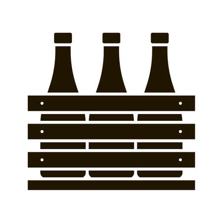 Icône de glyphe de cas de bière. Bouteilles de vin ou de champagne dans une caisse en bois. Bouteilles de lait dans une boîte en bois. Symbole de la silhouette. Espace négatif. Illustration vectorielle isolée