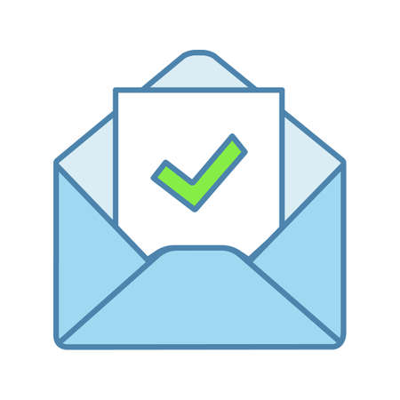 Email confirmation color icon. E-mail approval response. Hiring letter. Email with check mark. Employment verification letter. Isolated vector illustration