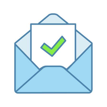 Ikona koloru potwierdzenia wiadomości e-mail. Odpowiedź e-mail z potwierdzeniem. List rekrutacyjny. E-mail ze znacznikiem wyboru. List weryfikacyjny zatrudnienia. Ilustracja wektorowa na białym tle Ilustracje wektorowe