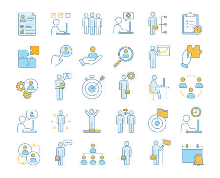 Business management color icons set. Headhunting and HR management. Teamwork and leadership. Business development. Isolated vector illustrations
