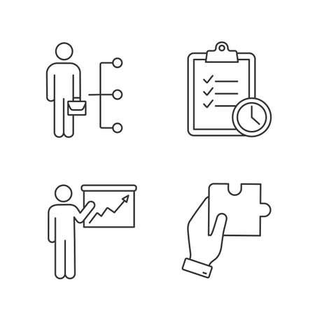 Ensemble d'icônes linéaires de gestion d'entreprise. Compétences des employés, gestion du temps, présentation, recherche de solution. Symboles de contour de ligne mince. Illustrations de contour de vecteur isolé. Trait modifiable