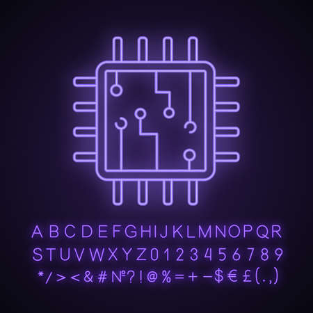 Computer chip neon light icon. Processor. Memory card. Central processing unit. Artificial intelligence. Glowing sign with alphabet, numbers and symbols. Vector isolated illustration Ilustração Vetorial