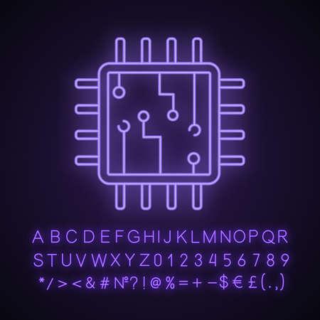 Icône de néon de puce d'ordinateur. Processeur. Carte mémoire. Unité centrale de traitement. Intelligence artificielle. Signe lumineux avec alphabet, chiffres et symboles. Illustration vectorielle isolée Vecteurs