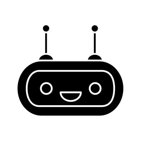 Chatbot glyph icon. Silhouette symbol. Talkbot. Laughing chat bot. Modern robot. Virtual assistant. Conversational agent. Negative space. Vector isolated illustration