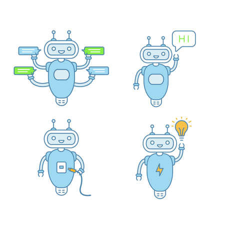 Chatbots color icons set. Talkbots. Virtual assistants. Support service, hi, USB, new idea chat bots. Modern robots. Isolated vector illustrations