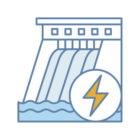 Hydroelectric dam color icon. Water energy plant. Hydropower. Hydroelectricity. Isolated vector illustration