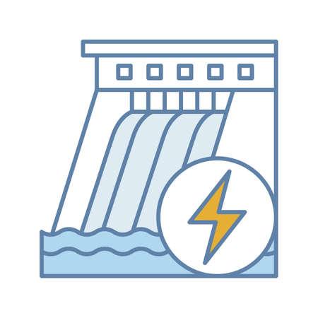 Icona di colore della diga idroelettrica. Centrale idrica. Energia idroelettrica. Idroelettricità. Illustrazione vettoriale isolato