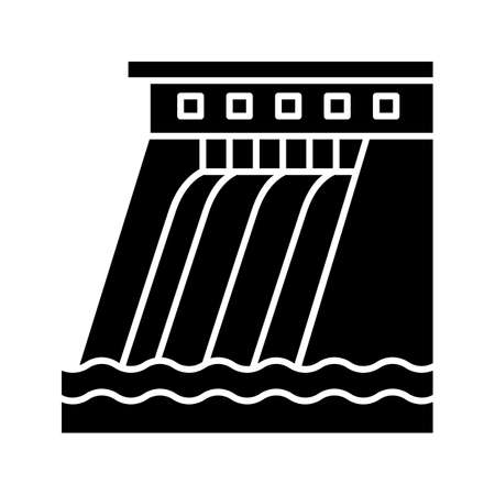 Hydroelectric dam glyph icon. Silhouette symbol. Water energy plant. Hydropower. Hydroelectricity. Negative space. Vector isolated illustration