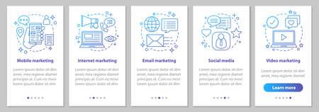Schermata della pagina dell'app mobile di onboarding del marketing su Internet con concetti lineari. Social media, mobile, video, e-mail, istruzioni grafiche per i passaggi di marketing video. Modello vettoriale UX, UI, GUI con illustrazioni