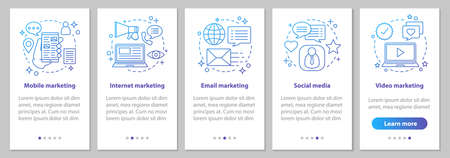 Internet marketing onboarding mobile app page screen with linear concepts. Social media, mobile, video, email, video marketing steps graphic instruction. UX, UI, GUI vector template with illustrations