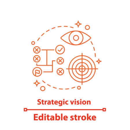 Strategic vision concept icon. Business strategy idea thin line illustration. Goal achieving. Strategic thinking. Planning. Vector isolated outline drawing. Editable stroke