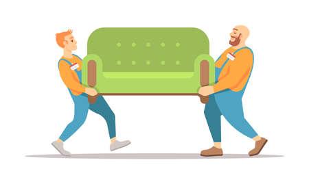 Illustration vectorielle de service de livraison de meubles. Deux livreurs transportant des personnages de dessins animés isolés sur fond blanc. Chargeurs masculins en uniforme. Déménagement, travailleurs des services de réinstallation