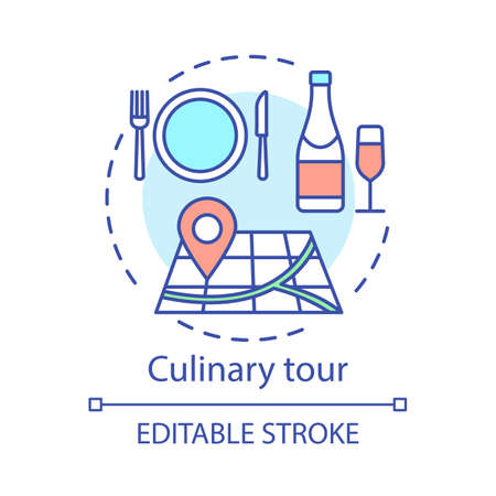 Culinary tour concept icon. Travel experience idea thin line illustration. Cuisine of foreign country. National gastronomy. Tasting local dishes. Vector isolated outline drawing. Editable stroke Иллюстрация