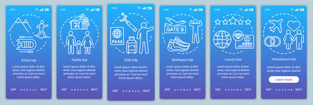 Travel styles onboarding mobile app page screen vector template. Luxury and multisport tour. Solo trip. Walkthrough website steps with linear illustrations. UX, UI, GUI smartphone interface concept Banque d'images - 129557575