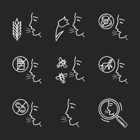 Allergies chalk icons set. Food, animal, insect stings allergy, hay fever, diagnosis. Allergic diseases. Medical health care. Healthcare, medicine. Isolated vector chalkboard illustrations Ilustrace