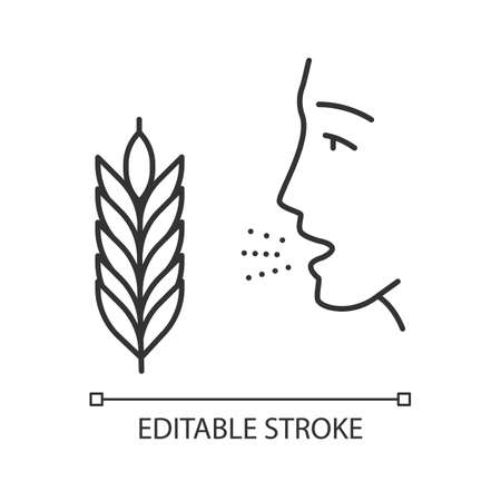 Wheat allergy linear icon. Allergic asthma, rhinitis. Gluten intolerance. Hypersensitivity of immune system. Thin line illustration. Contour symbol. Vector isolated outline drawing. Editable stroke