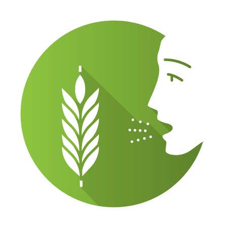 Wheat allergy flat design long shadow glyph icon. Allergic asthma. Gluten intolerance. Hypersensitivity of immune system. Inhalation of allergens. Seasonal allergy. Vector silhouette illustration