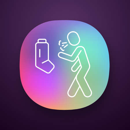 Allergic asthma, anaphylaxis app icon. Asthmatic using inhaler. UIUX user interface. Bronchospasm, wheezing, shortness of breath. Web or mobile application. Vector isolated illustration