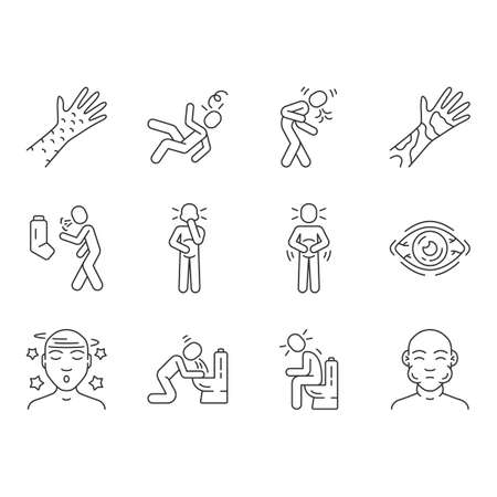 Allergy symptoms linear icons set. Food poisoning, flu, influenza. Viral infection. Allergic reaction thin line contour symbols. Isolated vector outline illustrations. Editable stroke Vector Illustration