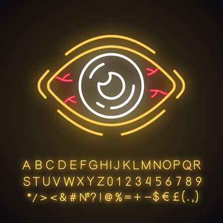 Allergic conjunctivitis neon light icon. Eye inflammation, irritation, itching. Glowing sign with alphabet, numbers and symbols. Bacterial, viral infection. Vector isolated illustration