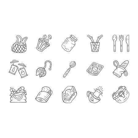 Zero waste kitchen linear icons set. Reusable cutlery, storage containers. Recyclable bags, household utensils. Thin line contour symbols. Isolated vector outline illustrations. Editable stroke