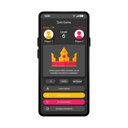Online quiz game smartphone interface vector template. Mobile trivia app page black design layout. Crown screen. Flat UI for online quiz application. Wrong and right answer phone display