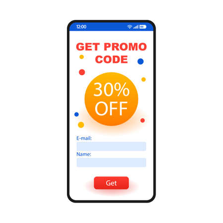 Promo code smartphone interface template. 30 percent off discount mobile website page layout. Getting money off coupon. Special offer, online voucher, gift card. Application flat UI. Phone display