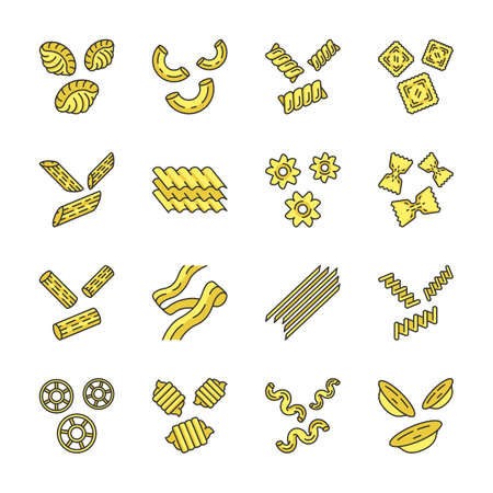 Pasta noodles color icons set. Italian traditional macaroni. Shaped and dried unleavened dough products. Assortment of dry flour groceries. Different types of noodles. Isolated vector illustrations