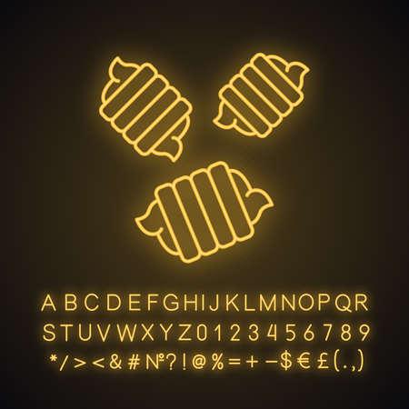 Riccioli neon light icon. Italian cuisine. Fusilli bucati, gemelli. Spiral macaroni. Mediterranean noodles, pasta. Glowing sign with alphabet, numbers and symbols. Vector isolated illustration