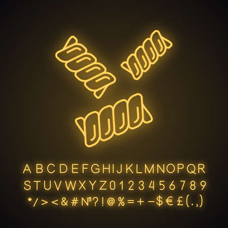 Gemelli neon light icon. Fusilli bucati, riccioli. Italian food. Spiral macaroni. Mediterranean cuisine. Type of noodles. Glowing sign with alphabet, numbers and symbols. Vector isolated illustration