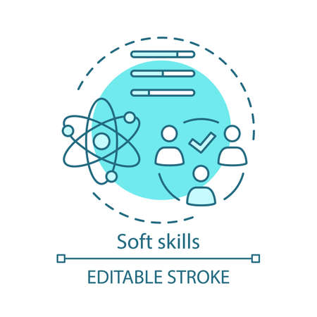 Soft skills turquoise concept icon. Teamwork idea thin line illustration. Interpersonal development, leadership, professional relationship. Human resources isolated outline drawing. Editable stroke Иллюстрация