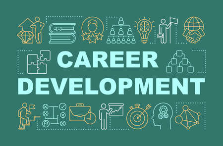 Career development word concepts banner. Personal growth presentation. Job opportunity. Isolated typography idea with linear icons. Achievement, success, improvement vector outline illustration Illusztráció