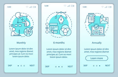 Photo editor subscription onboarding mobile app page screen vector template. Monthly or annually tariffs. Walkthrough website steps with linear illustrations. UX, UI, GUI smartphone interface concept