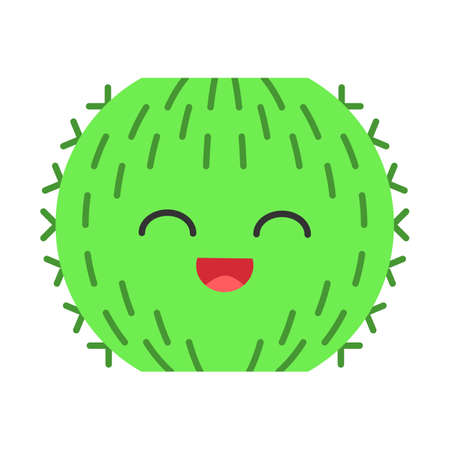 Barrel cactus flat design long shadow color icon. Cactus with smiling face. Echinocactus wild cacti. Happy tropical plant with smiling eyes. Houseplant. Succulent plant. Vector silhouette illustration Çizim