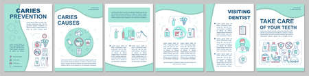 Caries prevention brochure template layout. Dental health care. Flyer, booklet, leaflet print design with linear illustrations. Vector page layouts for magazines, annual reports, advertising posters