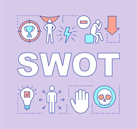 SWOT purple word concepts banner. Strength, weakness, opportunity, threat. Presentation, website. Starting project. Isolated lettering typography idea with linear icons. Vector outline illustration Stock Illustratie
