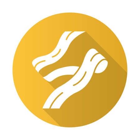 Pappardelle flat design long shadow glyph icon. Wide long strip of dough. Ribbon pasta. Homemade noodles. Italian cuisine. Asian food. Fettuccine, tagliatelle. Vector silhouette illustration