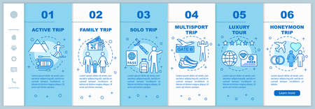 Travel styles onboarding mobile web pages vector template. Luxury tour. Responsive smartphone website interface idea with linear illustrations. Webpage walkthrough step screens. Color concept Illustration