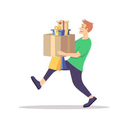 Guy carrying presents flat vector illustration. Male teenager with gift boxes isolated cartoon character on white background. Holiday season shopping, preparing. Celebration, party, greeting