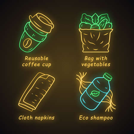 Zero waste swaps handmade neon light icons set. Eco friendly, sustainable products. Reusable materials. Reusable coffee cup, eco shampoo, cloth napkins. Glowing signs. Vector isolated illustrations