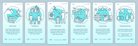 Styles de voyage à bord du modèle vectoriel d'écran de page d'application mobile. Voyage en solitaire. Circuit luxe et multisports. Procédure pas à pas du site Web avec des illustrations linéaires. Concept d'interface de smartphone UX, UI, GUI