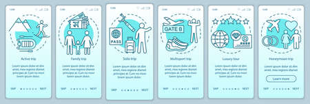 Travel styles onboarding mobile app page screen vector template. Solo trip. Luxury and multisport tour. Walkthrough website steps with linear illustrations. UX, UI, GUI smartphone interface concept Illustration