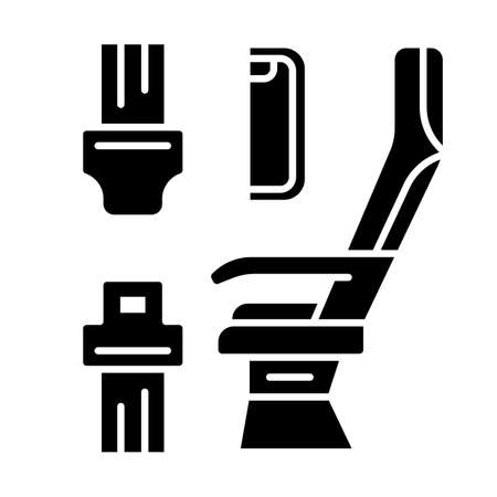 Seat belt glyph icon. Airplane safe seating. Plane safeness. Safety measures. Aviation service. Aircraft travel. Journey amenity. Silhouette symbol. Negative space. Vector isolated illustration