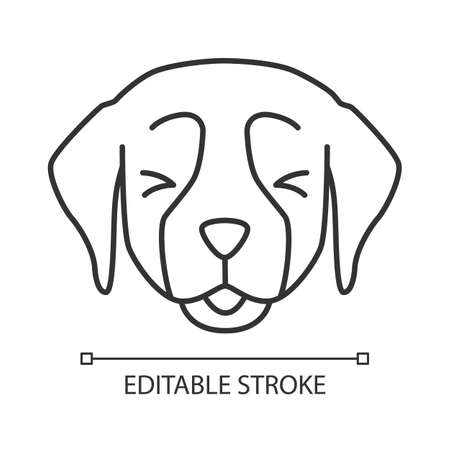 Golden Retriever cute kawaii linear character. Thin line icon. Dog with smiling muzzle. Animal with squinting eyes. Domestic doggie, tongue out. Vector isolated outline illustration. Editable stroke Ilustração