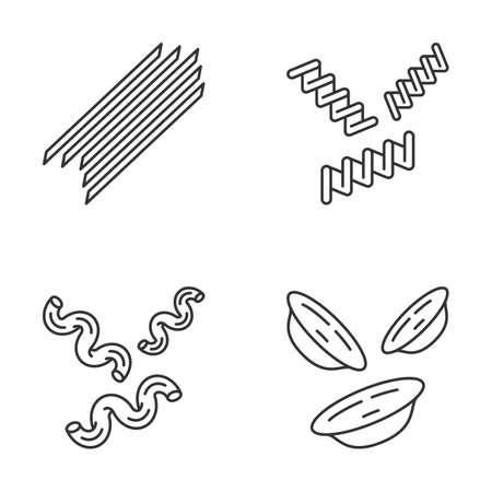 Pasta noodles linear icons set. Spaghetti, fusilli, cavatappi, orecchiette. Italian food. Mediterranean macaroni. Thin line contour symbols. Isolated vector outline illustrations. Editable stroke