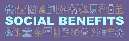 Social benefits and welfare word concepts banner. Charitable foundation. Pension, health insurance. Isolated lettering typography idea. Child care. Vector outline illustration Ilustração Vetorial