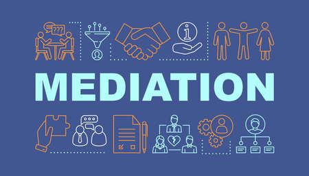 Mediation word concepts banner. Coworking. Dispute, conflict legal resolution. Presentation, website. Isolated lettering typography idea with linear icons. Divorce assist. Vector outline illustration Ilustrace